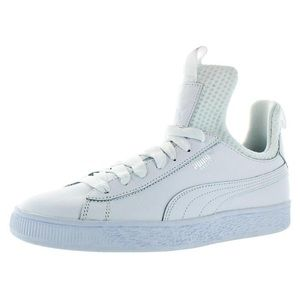 NEW PUMA BASKET FIERCE EP LEATHER LACE-UP SNEAKERS